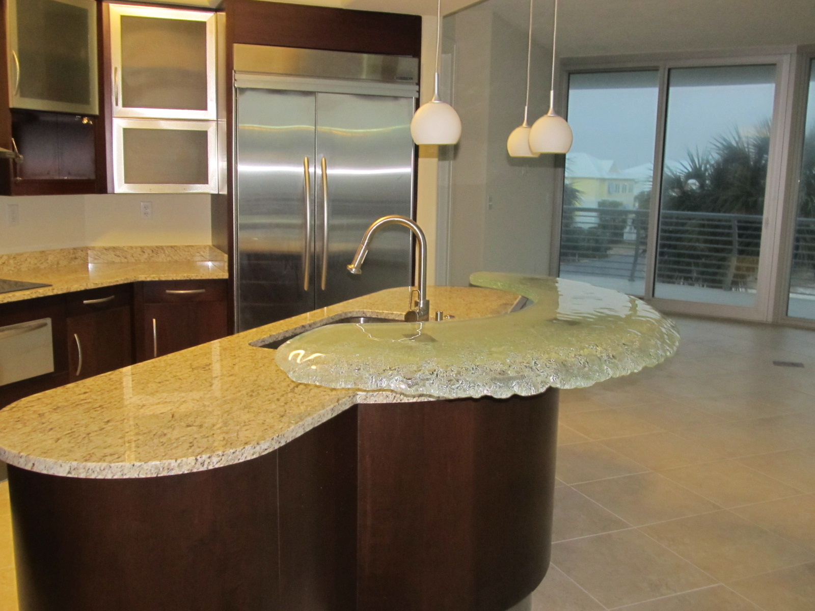 kitchen island with glass top bar chuck barnes